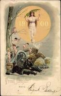 Lithographie Glückwunsch Neujahr, Jahreszahl 1900, Engel, Soldaten, Geschütz - Anno Nuovo
