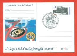 INTERI POSTALI-CARTOLINA POSTALE SOPRASTAMPA PRIVATA-VESPA-MOTO-70 ANNI VESPA CLUB-VIAREGGIO -2019 - 6. 1946-.. Republic