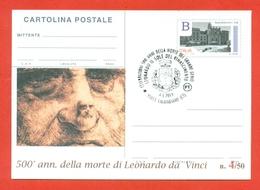 INTERI POSTALI-CARTOLINA POSTALE SOPRASTAMPA PRIVATA-CALATABIANO-500 ANNI  MORTE LEONARDO DA VINCI-2019 - 1946-.. République