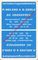 P. NOLENS G. COOLS - DE VOORSPOED Verzekeringsmakelaars Hasselt Bree - 1 Speelkaart - 1 Carte à Jouer - 1 Playing Card. - Cartes à Jouer Classiques