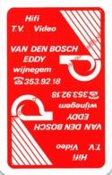 EDDY VAN DEN BOSCH - Wijnegem - 1 Speelkaart - 1 Carte à Jouer - 1 Playing Card. - Cartes à Jouer Classiques
