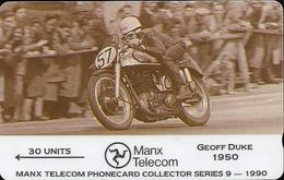 Isle Of Man - Geoff Duke - TT Racers 1990 - 7IOMD - 1991, 6.000ex, Used - Isla De Man