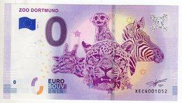 2018-1 BILLET TOURISTIQUE ALLEMAGNE 0 EURO SOUVENIR N°XECQ001052 ZOO DORTMUND - EURO