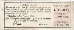 Alemania (BONOS) - Germany 17.50 Mark 1-1-1923 Eisfeld Ref 16 - Administración De La Deuda