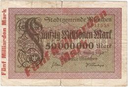 Alemania (NOTGELD) - Germany 5.000.000.000 Mark 25-8-1923 Sobre 50.000.000 Mark Munchen Ref 3707-2 - [ 2] 1871-1918 : Imperio Alemán