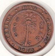 Ceylon. 5 Cents 1870. Victoria. Copper. KM# 93 - Sri Lanka