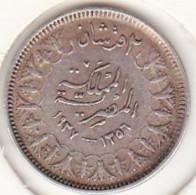 Egypte. 2 Piastres AH 1356 – 1937. Roi Farouk. Argent KM# 365 - Egypte