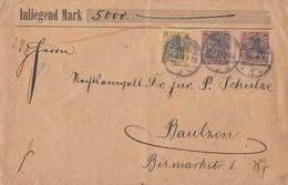 DR Wertbrief über 5000Mark Mif Minr.58, 2x 61 Magdeburg Gel. Nach Bautzen 5.5.01 - Deutschland