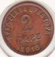 Montenegro . 2 Pare 1913 . Nicholas I .   KM# 17 - Yugoslavia