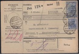 DR Paketkarte Mif Minr.87II,95B Ohrdruf 29.6.18 Gel. In Türkei - Germania