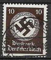 GERMANIA REICH IMPERO 1942  FRANCOBOLLI DI SERVIZIO CROCE UNCINATA SENZA FILIGRANA UNIF.132 USATO VF - Service