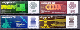 SINGAPORE  1983  WORLDCOMMUNICATION  SET  MNH - Singapour (1959-...)