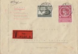 DR Wertbrief Mif Minr.885,887 Trier 8.6.44 - Briefe U. Dokumente