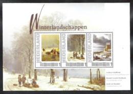 NEDERLAND Block Winterlandschappen **  Bekende Schilders Met Bijbehorende Ansichtkaarten - Sellos Privados