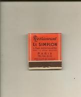 Pochette Allumettes LASTAR De 1954 Neuve Et Pleine:Restaurant LE SIMPLON Faubourg Montmartre Paris - Boites D'allumettes