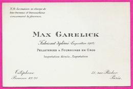 Carte De Visite Commerciale MAX GARELICK Pelleteries & Fourrures En Gros 75009 PARIS Rue Richer - Visitenkarten