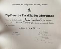 Namur, Pensionnat Des Religieuses Ursulines 1945. Diplôme. - Diplômes & Bulletins Scolaires