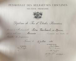 Namur, Pensionnat Des Religieuses Ursulines 1941.Diplôme. - Diplômes & Bulletins Scolaires