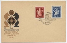 Poland 1956 Chess Deaf Championship / Schachmeisterschaft Tauben FDC With Occas. Cancel H305 - Scacchi