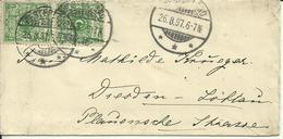 1897  2x5 Pf Auf Brief Von Westerland Nach Dresden-Löbtau - Briefe U. Dokumente