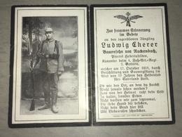 Sterbebild Wk1 Ww1 Bidprentje Avis Décès Deathcard 4. Fuss AR LE CATEAU Block 3 Grab 627 Gasvergiftung + Verschüttung - 1914-18