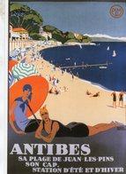 Chemin De Fer P.L.M. -  Antibes Plage  - Publicité  -  Artiste: Roger Broders  -  Ed.Clouet CPM - Autres