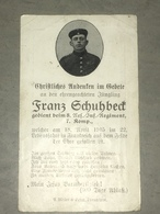 Sterbebild Wk1 Ww1 Bidprentje Avis Décès Deathcard RIR8 PERONNE VERMANDOVILLERS April 1915 - 1914-18