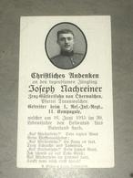 Sterbebild Wk1 Ww1 Bidprentje Avis Décès Deathcard RIR1 ARRAS St. Laurent Blangy Aus Oberwalchen Juni 1915 - 1914-18