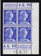 PUBLICITE: MARIANNE DE MULLER 20F BLEU 2 BANDES VERTICALES AG VIE-AG VIE ACCP 1304-1303 ET 1302-1305** - Publicités