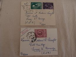 2 Enveloppes Petit Format Viet-Nam Saigon Par Avion Pour Lorrey Le Bocage 1959 - Vietnam