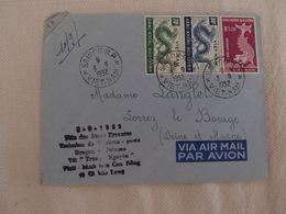 Enveloppe Viet-Nam Saigon Par Avion Pour Lorrey Le Bocage 1952 Fête Des âmes Errantes Dragon Poisson - Viêt-Nam