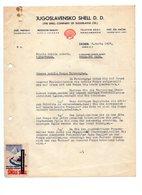 1937 YUGOSLAVIA, CROATIA, ZAGREB, JUGOSLAVENSKO SHELL D.D. INVOICE ON LETTERHEAD TO PETROVGRAD, SERBIA, 2 POSTER STAMP - Invoices & Commercial Documents