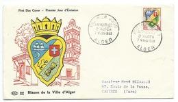 FDC ALGER / ALGERIE 1959 / BLASON DE LA VILLE D'ALGER - FDC
