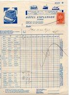 1938 YUGOSLAVIA, CROATIA, ZAGREB, HOTEL ESPLANADE, INVOICE ON HOTEL LETTERHEAD, 1 FISKAL STAMP - Other