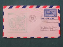 United Nations (New York) 1959 First Flight New York - Chicago - San Francisco - Cover To Manhasset - Flag - Plane - Map - New-York - Siège De L'ONU