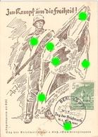 Deutsches Reich Propaganda Karte Im Kampf Um Die Freiheit Sonderstempel BERLIN 12.1.1941 Tag Der Briefmarke - Germany