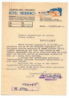 1958 YUGOSLAVIA, CROATIA, SREBRENO KOD DUBROVNIKA, HOTEL SREBRENO, LETTERHEAD - Invoices & Commercial Documents