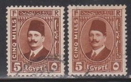 EGYPT Scott # 133, 133a Used - King Fuad Portrait - Egypt