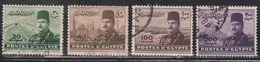 EGYPT Scott # 310-11, 313-4 Used - King Farouk & Pyramids With Overprint - Egypt