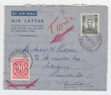 Sued Rhodesien , Ganzsache Nach Salzburg  Mit Nachporto 1951 - Stamps