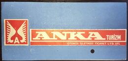 Turkey Bus Ticket Anka Turizm 1979 - Billetes De Transporte