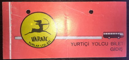 Turkey Bus Ticket Varan Turizm 1979 - Billetes De Transporte