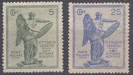 ITALIA - 1921 - Lotto Di 2 Valori Nuovi Senza Gomma: Yvert 113 E 116. - 1900-44 Victor Emmanuel III.