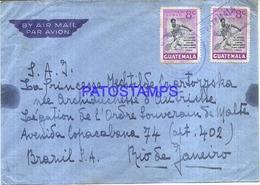 117079 GUATEMALA CITY COVER STAMPS TENNIS CIRCULATED TO BRAZIL NO POSTAL POSTCARD - Guatemala