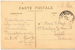 CV Expédiée D'ARMENTIERES (France) Par Un Militaire Belge Vers ZEIST (Pays-Bas) - Oblitération PMB Sans Numéro (1915) - WW I