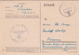 German Feldpost WW2: Feldeisenbahn Betriebs-Abteilung 3 FP 17021 And Cachet From Bahnhofsoffizier 233 - Militaria