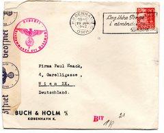 Dänemark, 1942, Briefkuvert Mit Einzelfrankatur 20 Oere U.Zensur (17530E) - 1913-47 (Christian X)