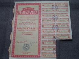 MAHAJAMBA Majunga Madagascar / Nr. 083.600 Et 601 : Action De 500 Francs Au Porteur > 1949 ( Voir Photo ) 2 Exempl.! - Actions & Titres