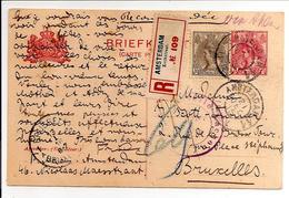 Em.1899 Bontkraag. Briefkaart Met 10ct NVPH 62 Bijfr.Amsterdam21.12.15>Zensur Aachen>Brussel 13.1.16.GEDEELTE TEKST VERW - 1891-1948 (Wilhelmine)