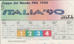 """VECCHIO BIGLIETTO PARTITA DI CALCIO - COPPA DEL MONDO 1990 """"ITALIA 90"""" STADIO DELLE ALPI (TORINO) - LEGGI - Biglietti D'ingresso"""